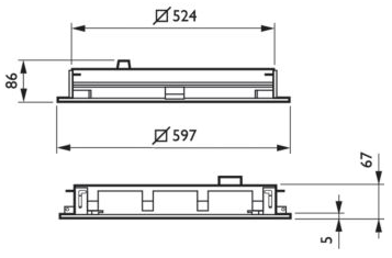 Dimensions for PowerBalance recessed Gen2