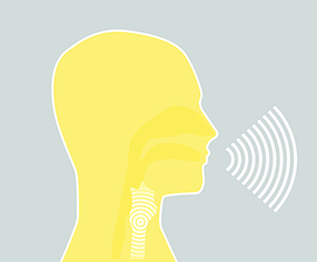 Illustration of sound being generated when a person is speaking