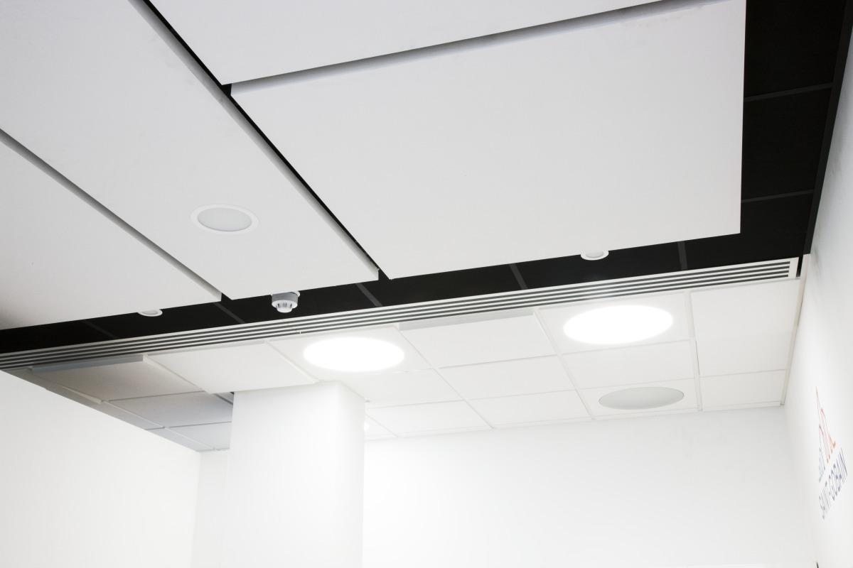 Satin spar ceiling tiles